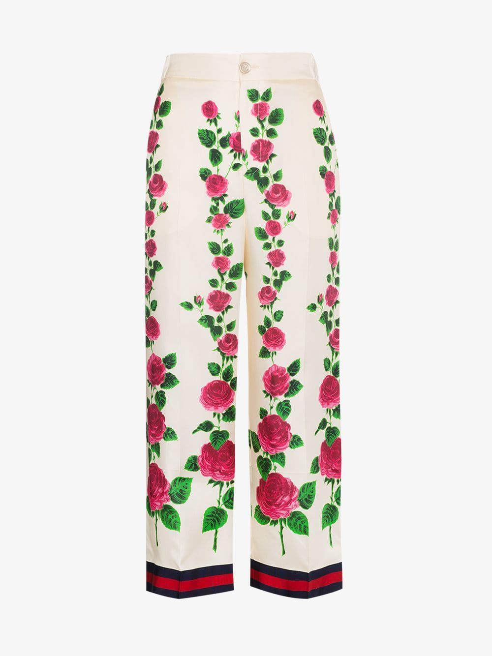 14c9bf86 Gucci - Pink Rose Garden Print Silk Pajama Pants - Lyst. View fullscreen
