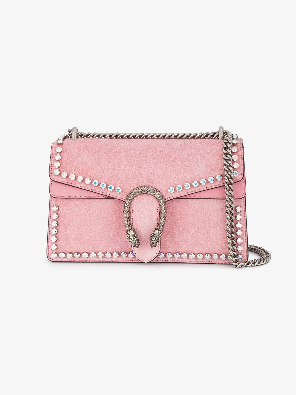 5f5e6573dd62 Lyst - Gucci Dionysus Suede Shoulder Bag With Crystals in Pink