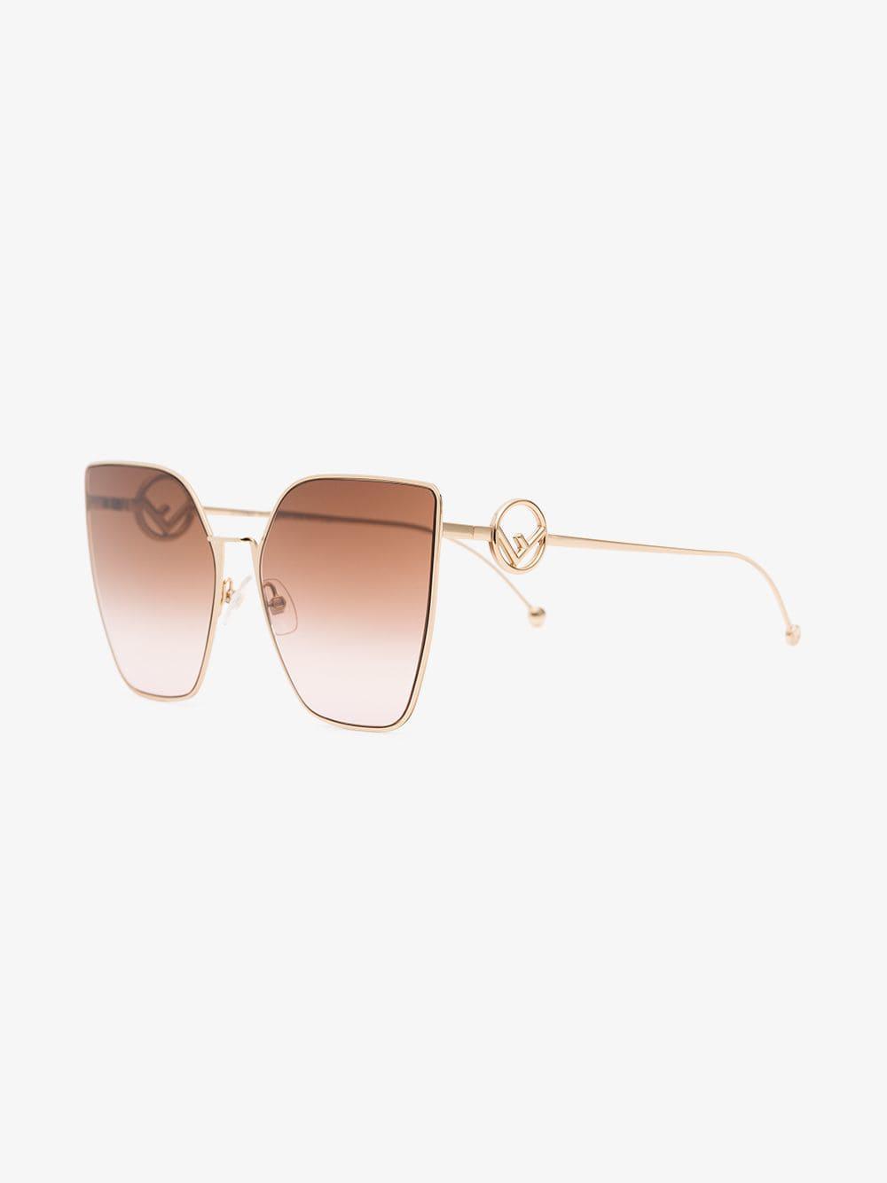 1ec772fae7bf Fendi - Pink Oversized Square Logo Arm Sunglasses - Lyst. View fullscreen