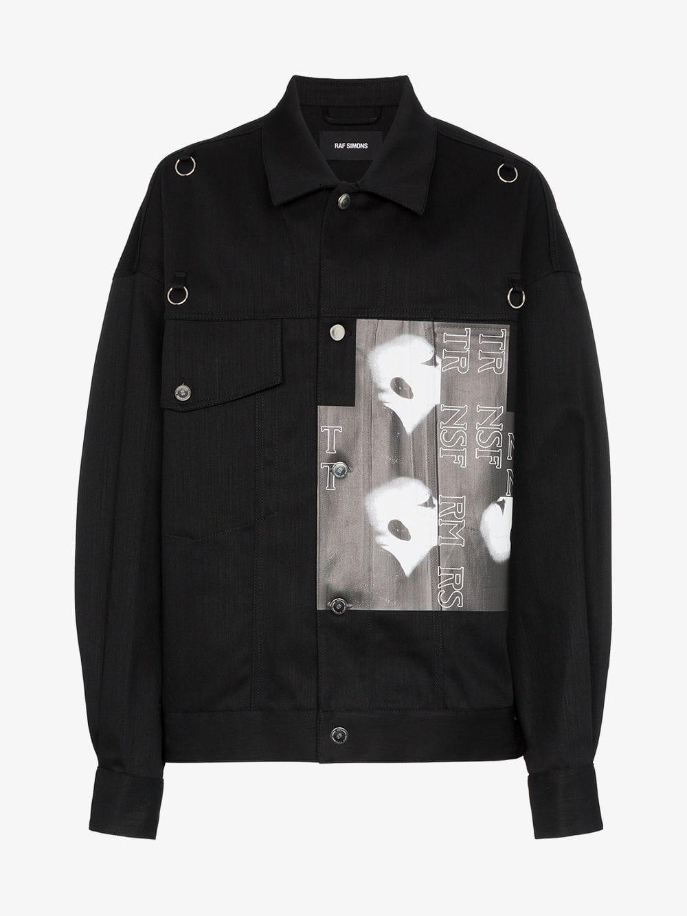 c755c95f83d Raf Simons - Black Graphic Print Badge Embellished Denim Jacket for Men -  Lyst. View fullscreen