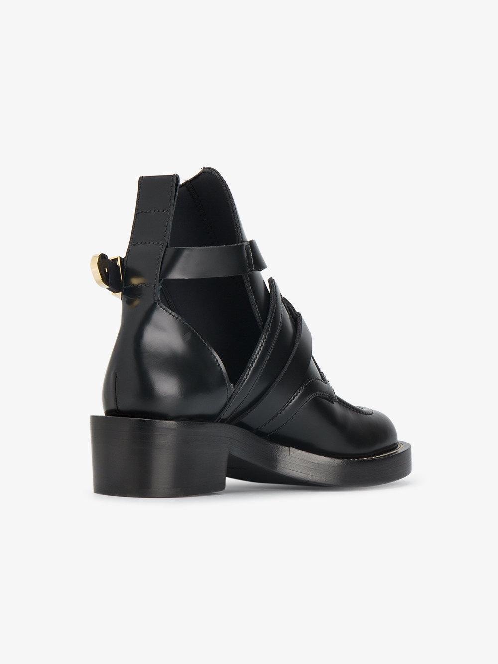 Balenciaga Leather Ceinture Cut Out Booties in Black