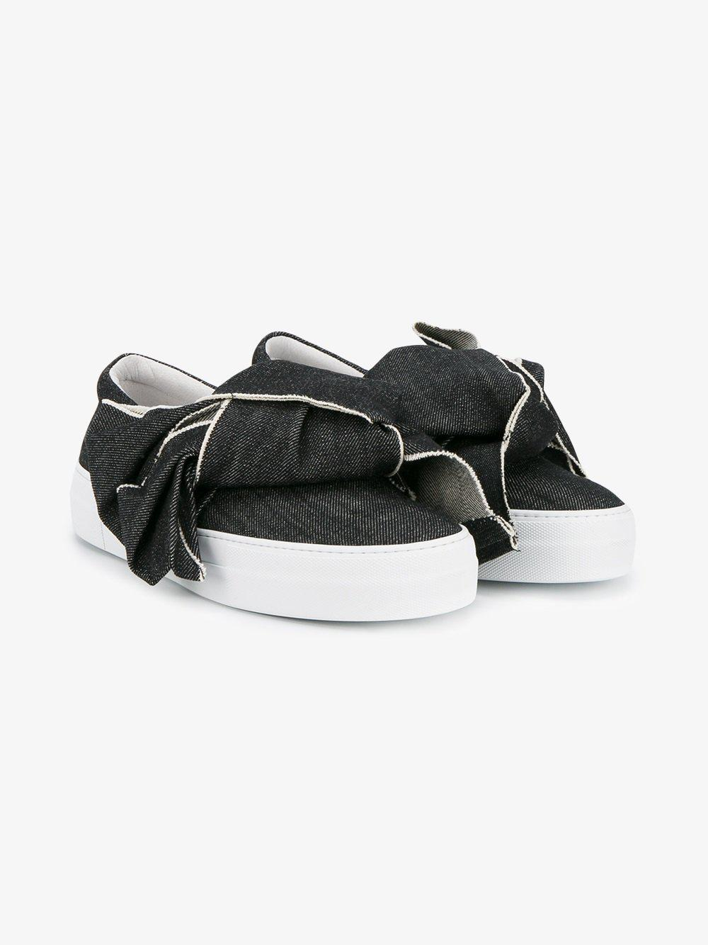 Joshua Sanders Bow Denim Slip-on Sneakers in Black