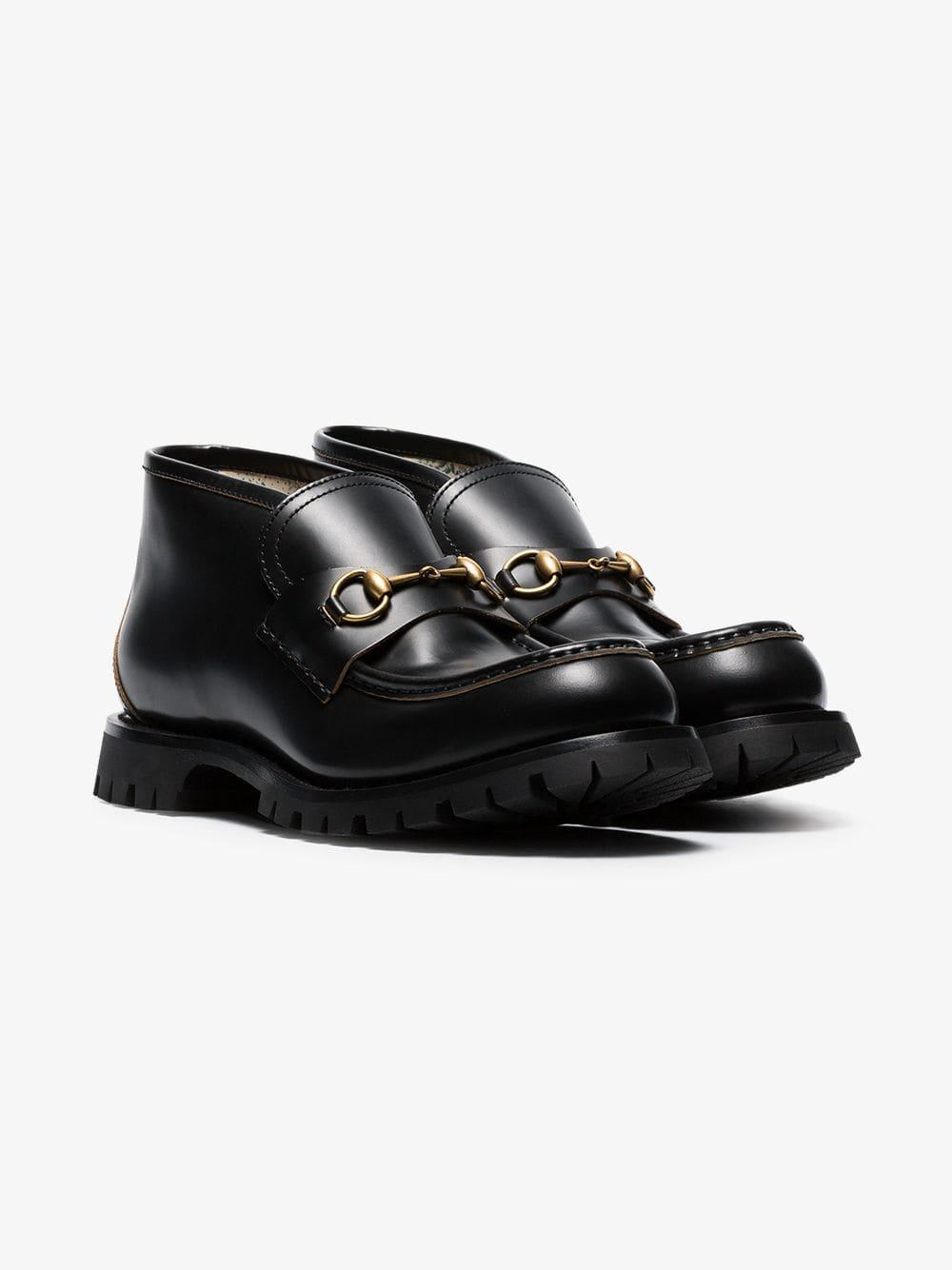 b52ddb405 Lyst - Gucci Django Leather Ankle Boot in Black for Men - Save 17%