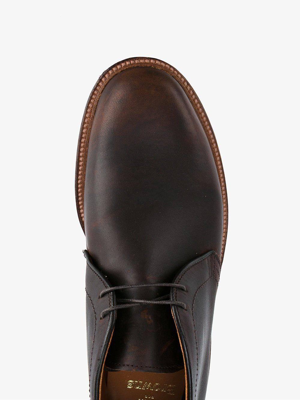 Alden Chukka Leather Boots In Dark Brown Brown For Men