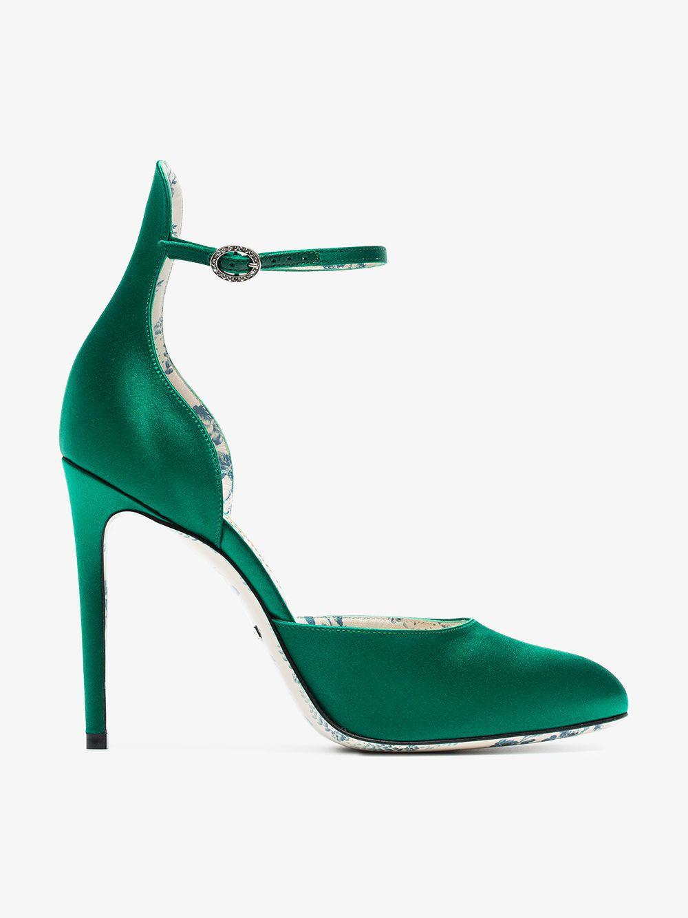 Gucci Satin Pumps in Green - Lyst