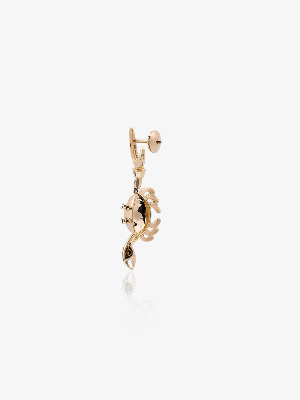 Yvonne Léon 18k Gold Crab Earring With Diamond And Ruby in Grey (Grey)