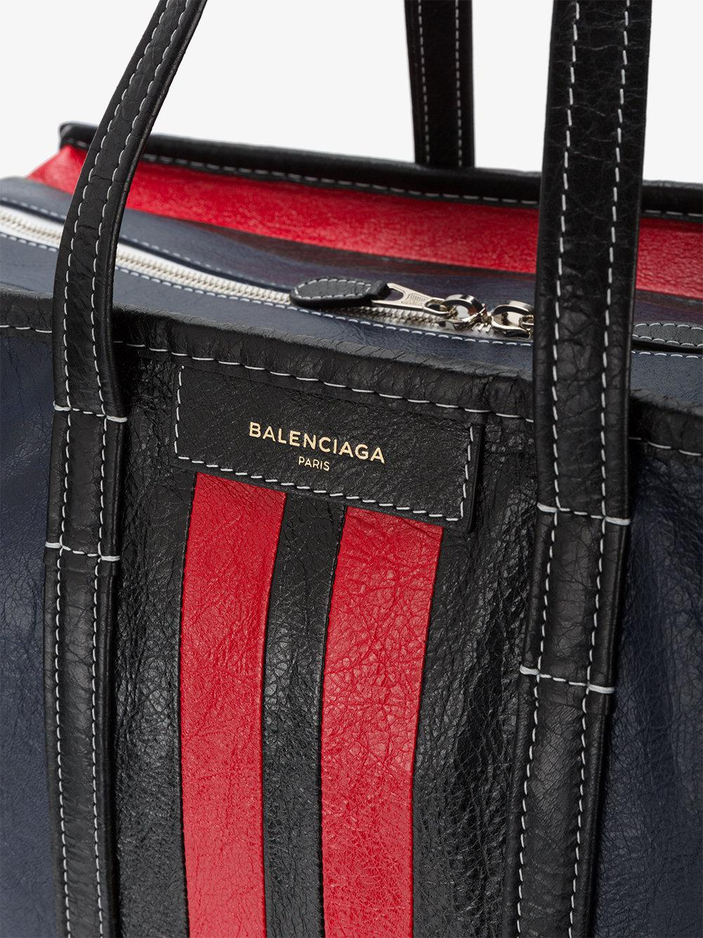 bbf7208bc Balenciaga Bazar Striped Shopper Bag in Black for Men - Lyst