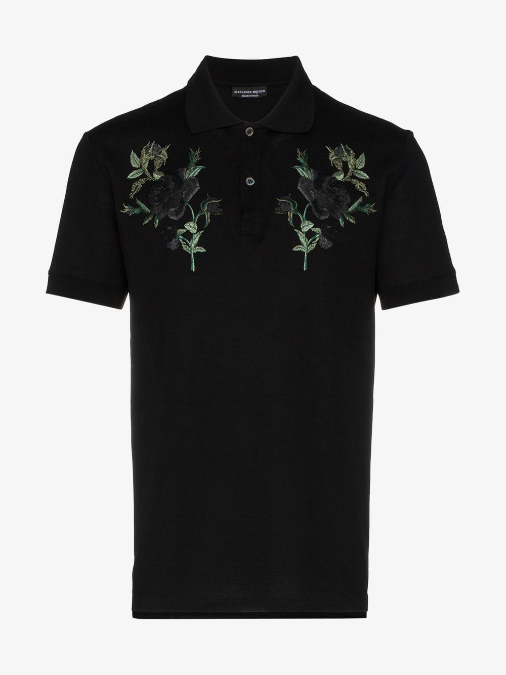 Alexander McQueen Cotton Rose Embroidered Polo Shirt in Black for Men