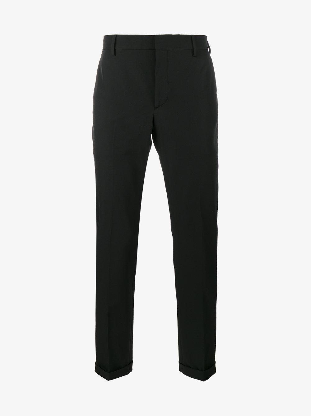 Prada Cotton Turn-up Tailored Trousers in Black for Men