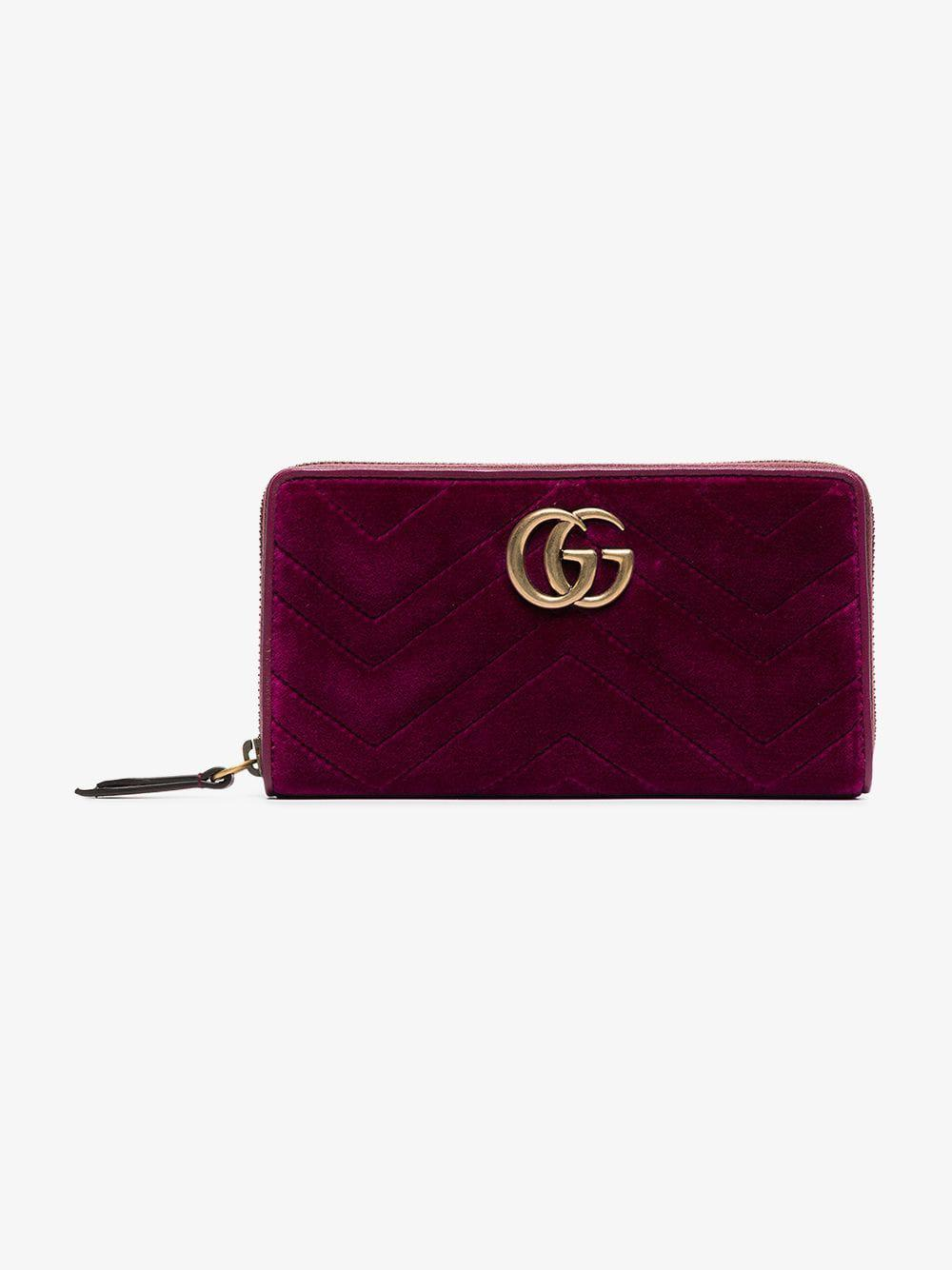 290fabab6ac4 Lyst - Gucci Purple GG Marmont Quilted Velvet Wallet in Purple ...