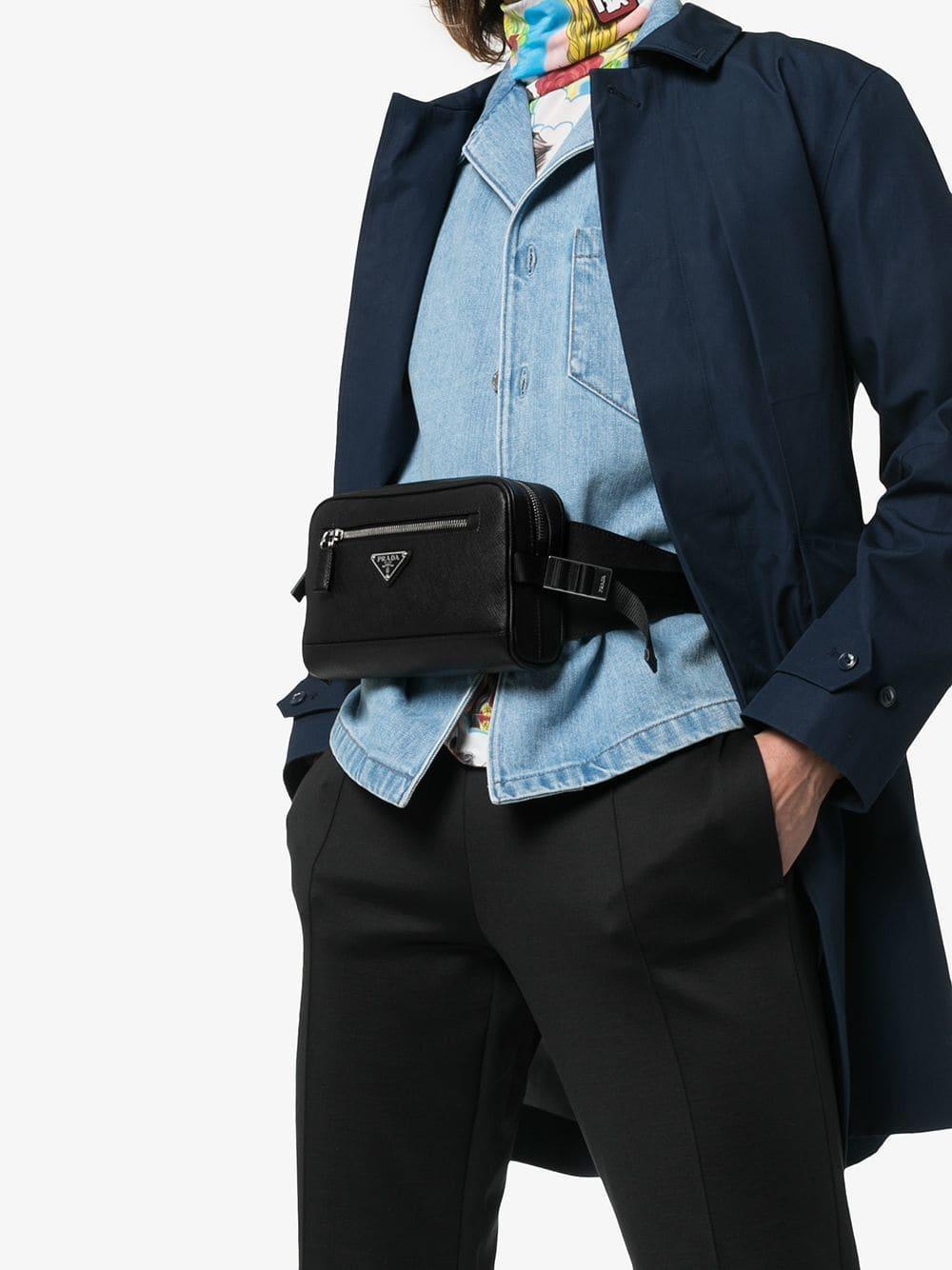 6515bfccad77b Prada Black Triangle Logo Belt Bag for men. View fullscreen