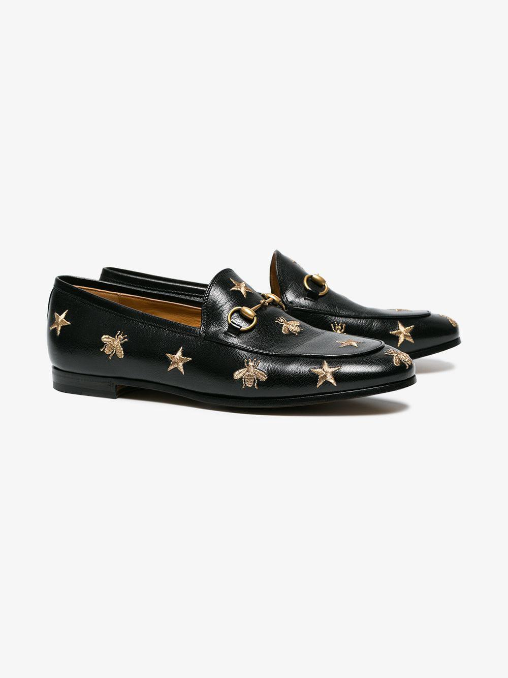 4e118694df4 Gucci - Black Jordaan Embroidered Leather Loafer - Lyst. View fullscreen