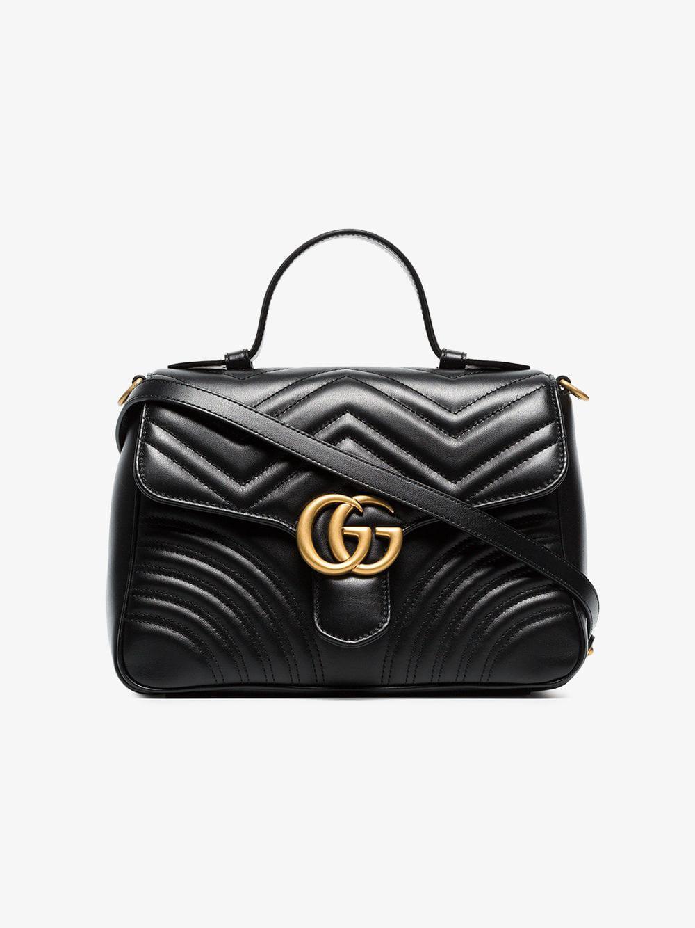 Gucci - Black GG Marmont Small Top Handle Bag - Lyst. View fullscreen 72236a4fd3e56