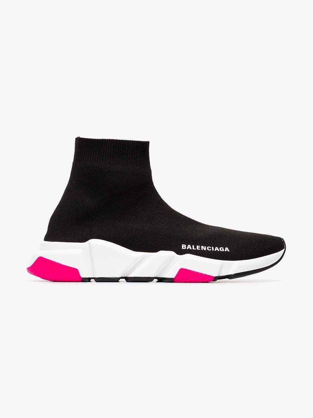 Pink Speed Knitted High Top Sneakers