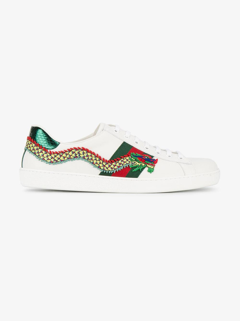 a70ace2eb17 Lyst - Gucci Dragon Embroidered Ace Sneakers in White for Men