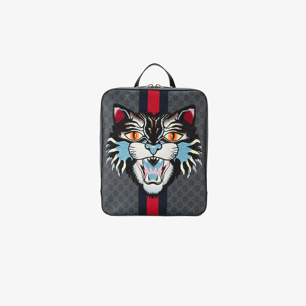 876326eeee2 Gucci Angry Cat Gg Supreme Backpack in Black for Men - Lyst