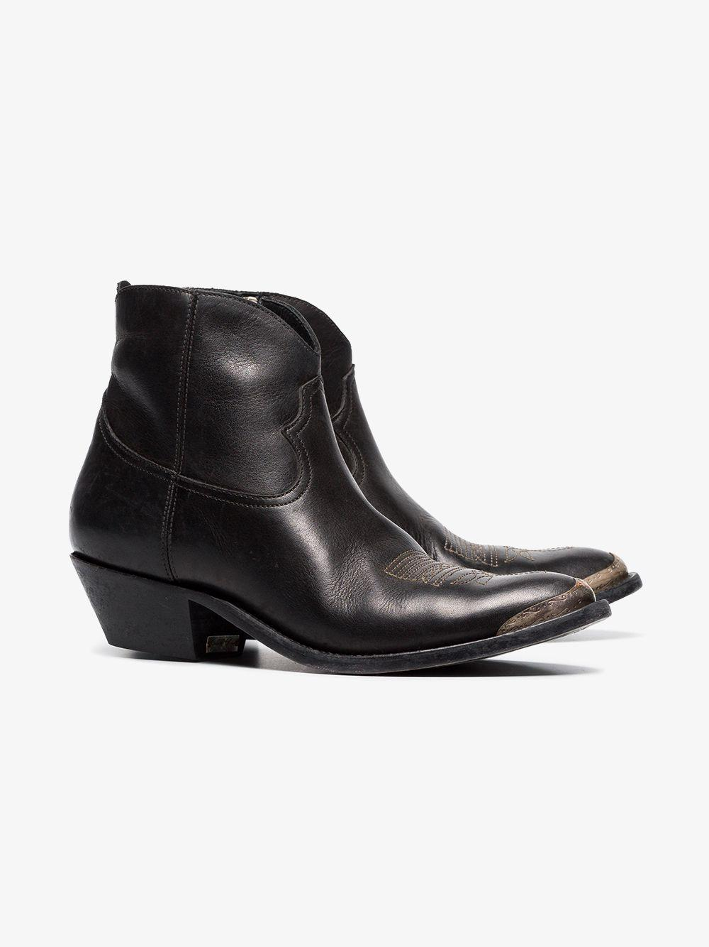 Golden Goose Deluxe Brand Golden Goose Black Young 40 Cowboy Leather Ankle Boots