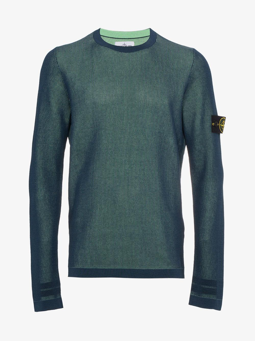 lyst stone island logo patch pullover in blue for men save 8. Black Bedroom Furniture Sets. Home Design Ideas