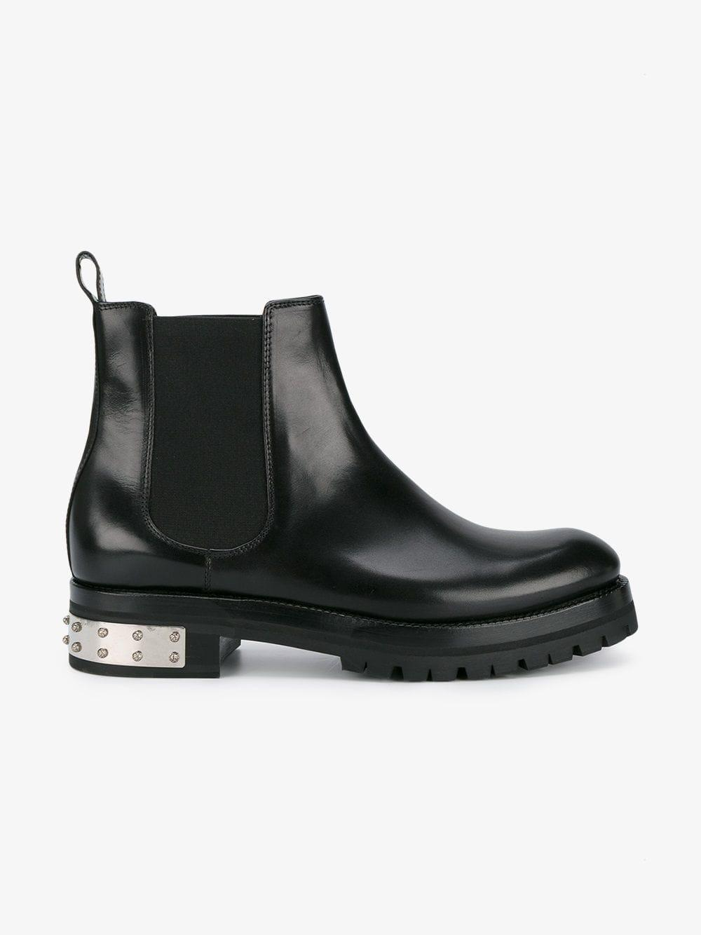 Alexander McQueen Leather Studded-heel Mod Ankle Boots in Black