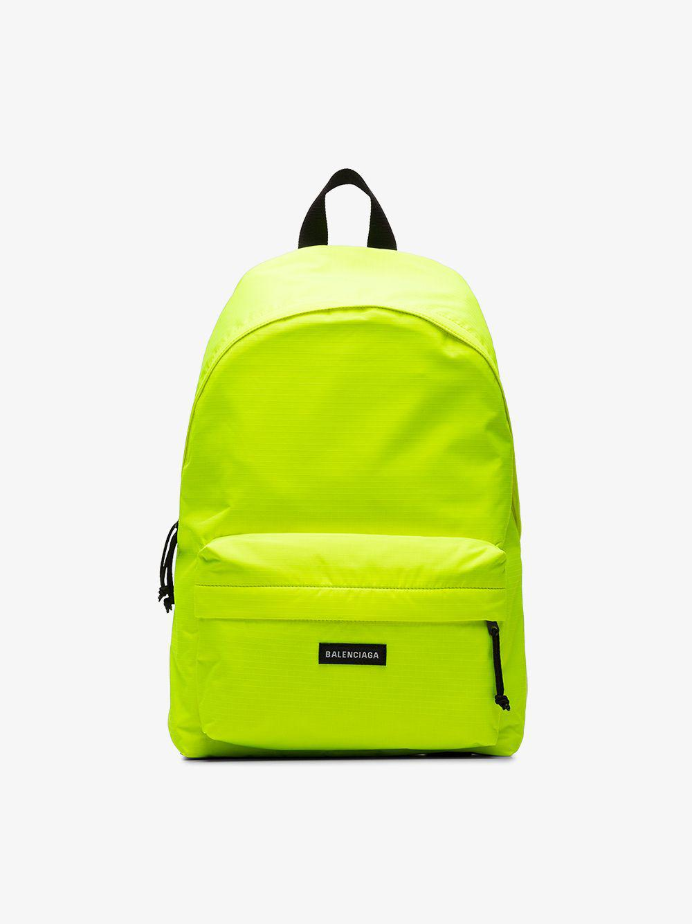 2bc0509e8596 Balenciaga Yellow Neon Explorer Logo Backpack in Yellow for Men - Save  8.695652173913047% - Lyst