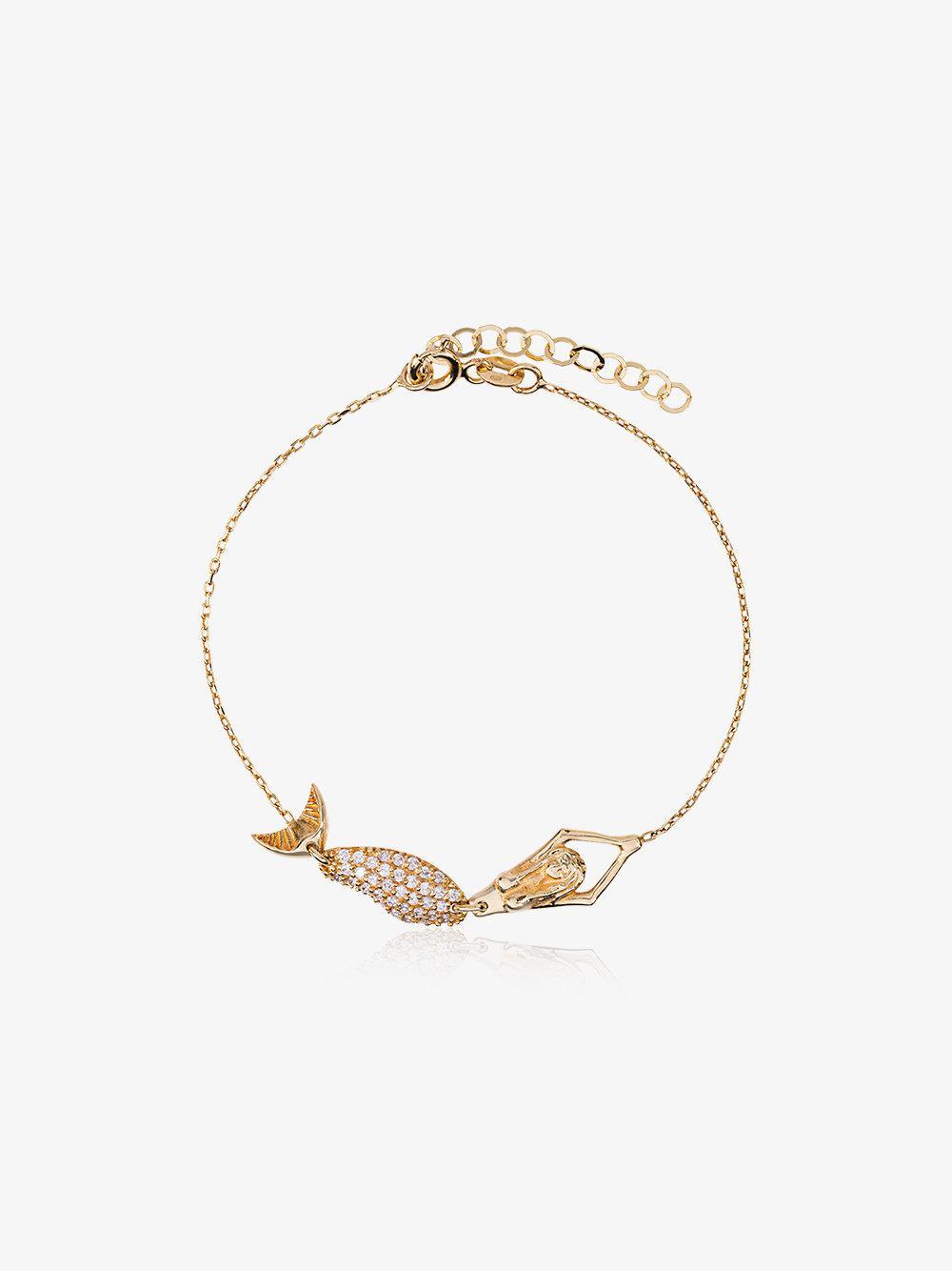 Anton Heunis 18k yellow gold mermaid diamond bracelet - Metallic szoTWO8J2R
