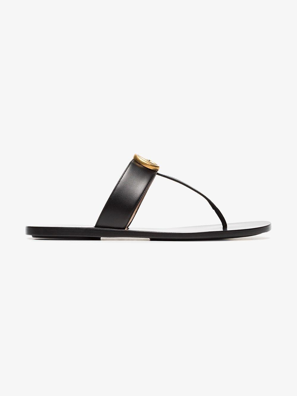 3507db9dc8e Gucci Black Double G Leather Thong Sandals in Black - Save 10% - Lyst