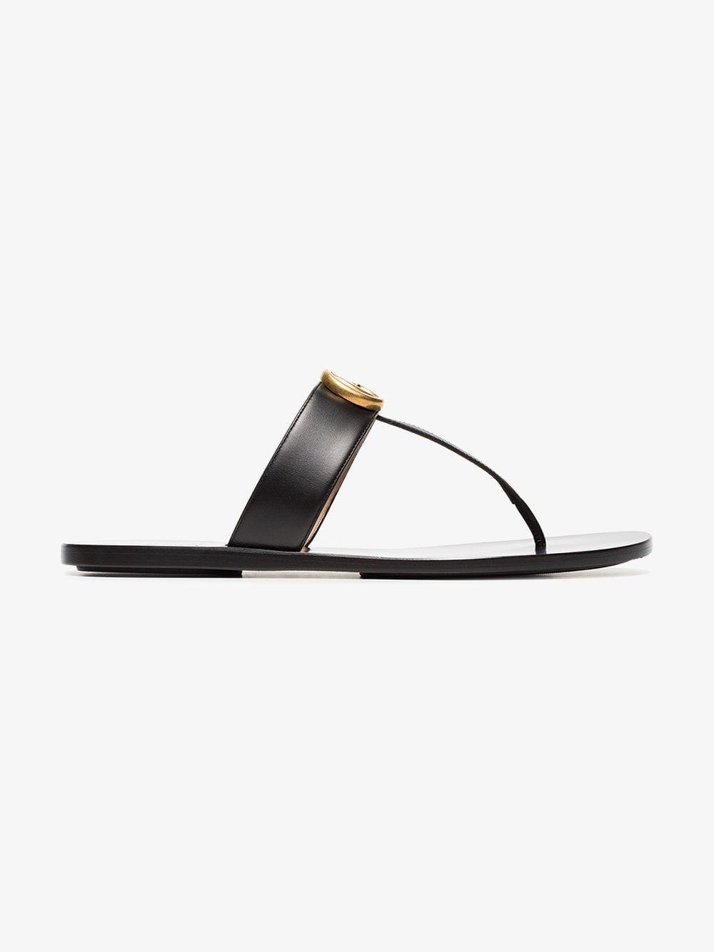 3c7f8d8e9 Lyst - Gucci Black Double G Leather Thong Sandals in Black - Save 13%