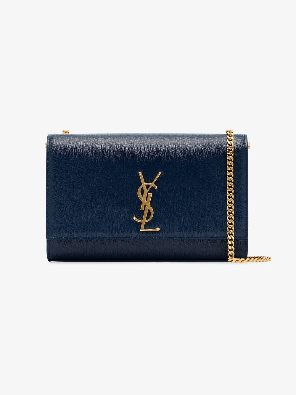 Lyst - Saint Laurent Midnight Blue Kate Grained Leather Shoulder Bag in Blue 36ffd63ba8528