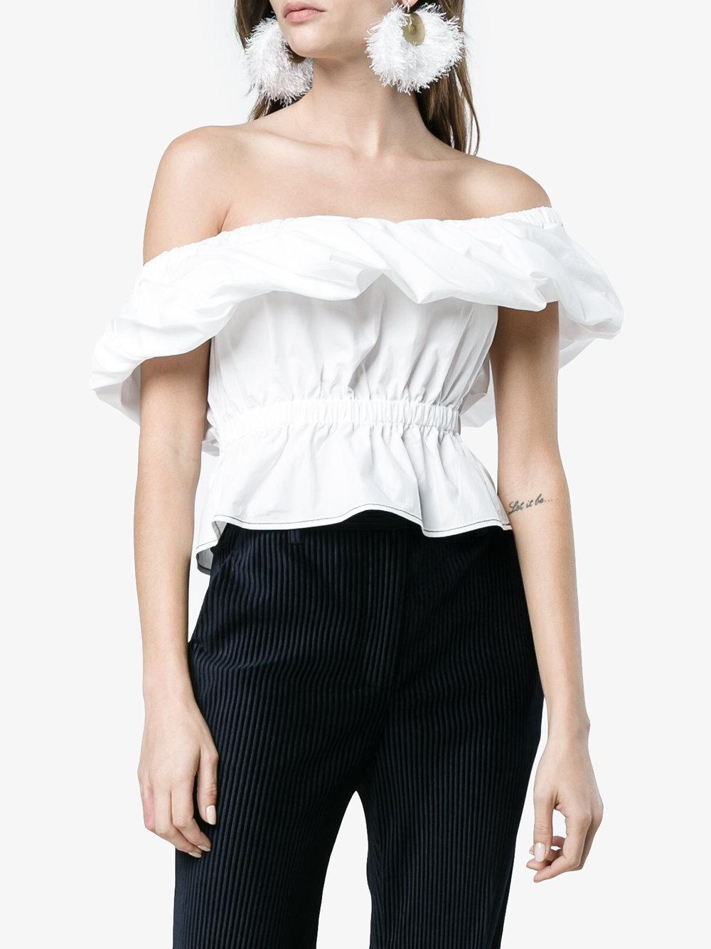 Rejina Pyo Cotton Cropped Off-shoulder Top in White