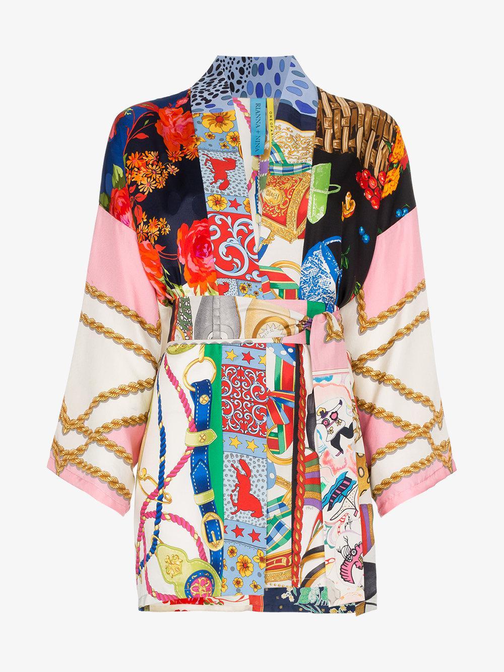 b5f3eb3bb0 ... quality design 4543e 015da Lyst - Rianna + Nina Short Multi Floral  Chain Print Silk Kim ...