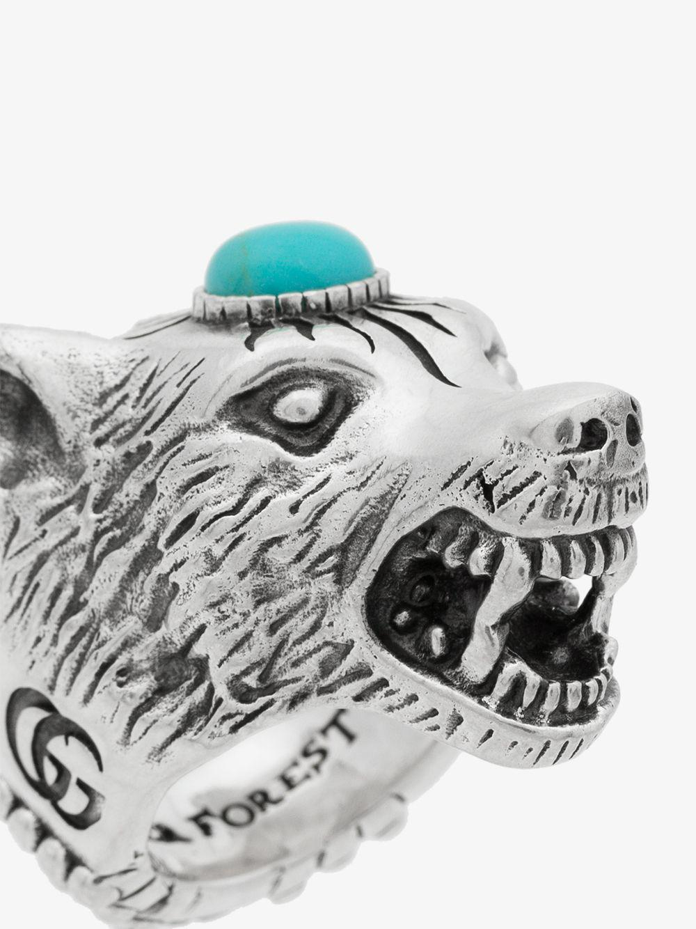 7fe0b1878 Gucci - Metallic Anger Forest Sterling Silver Wolf Head Ring for Men -  Lyst. View fullscreen