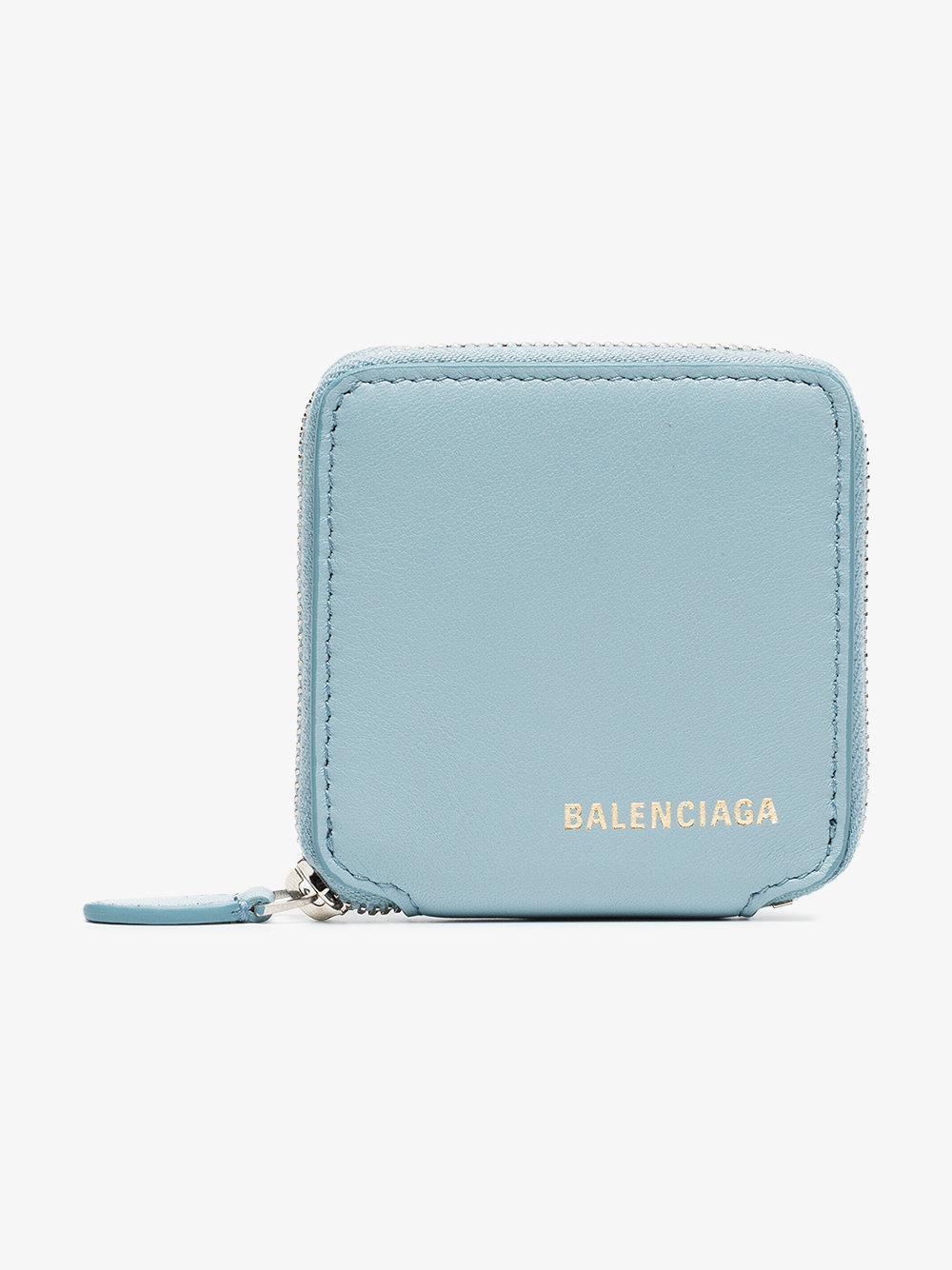 blue logo stamp leather coin wallet Balenciaga ESQ9G