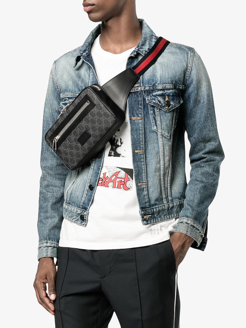 Gucci Leather Gg Supreme Belt Bag In Black For Men - Lyst