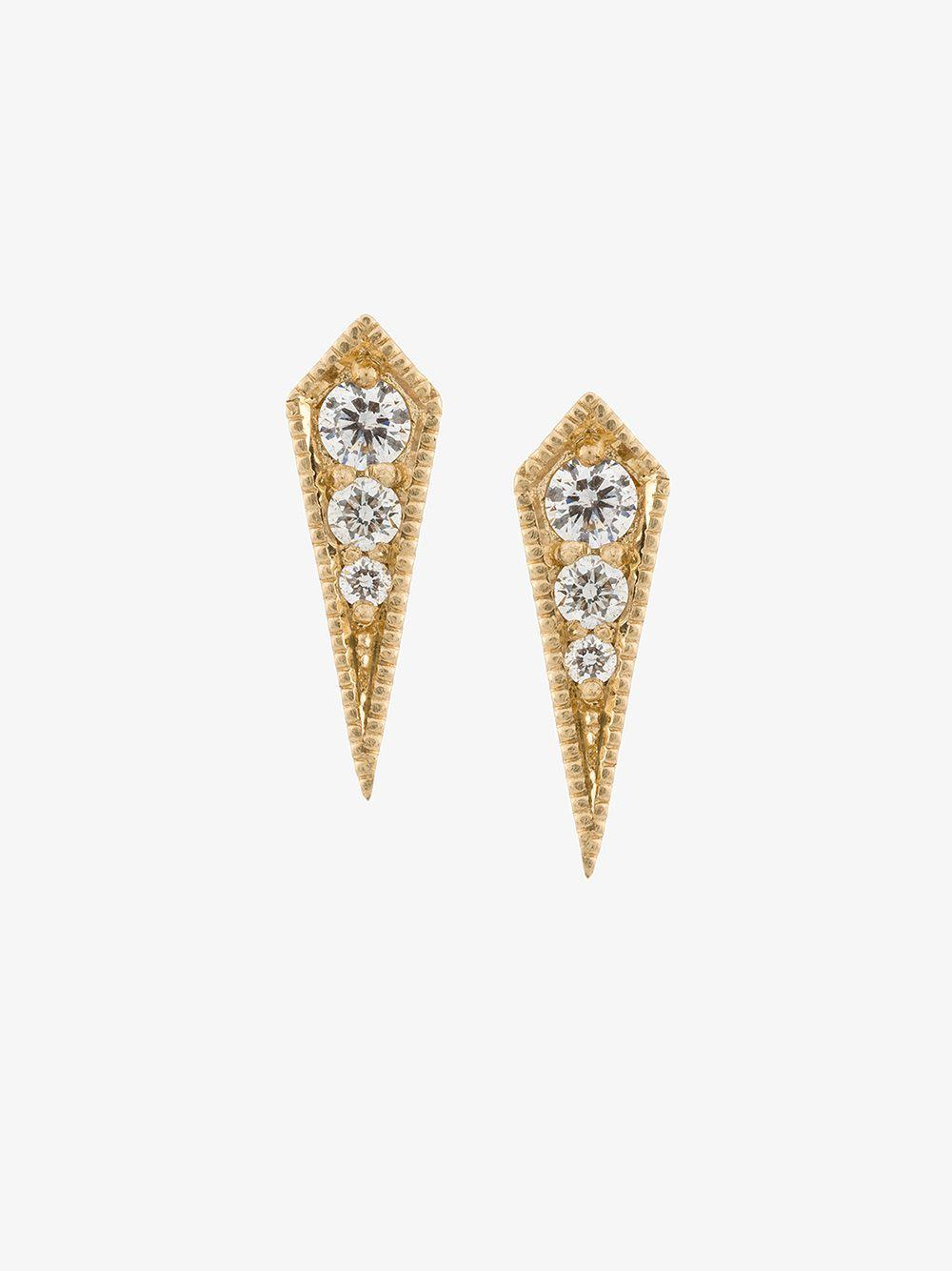18kt gold Kite diamond stud earrings - Metallic Lizzie Mandler WHWkt