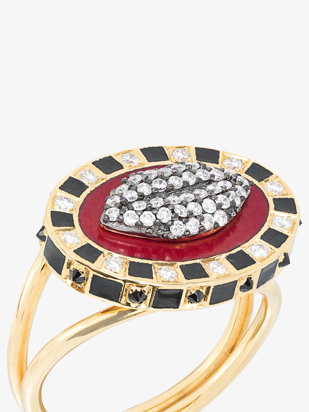 Holly Dyment 18k Yellow Gold Glam Lip Diamond Ring in Grey (Grey)