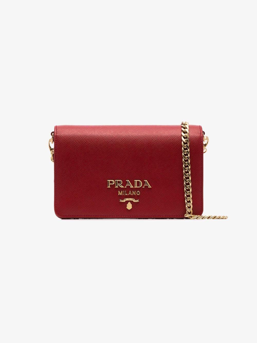 04b4df6bbd5c Prada - Red Saffiano Leather Shoulder Bag - Lyst. View fullscreen
