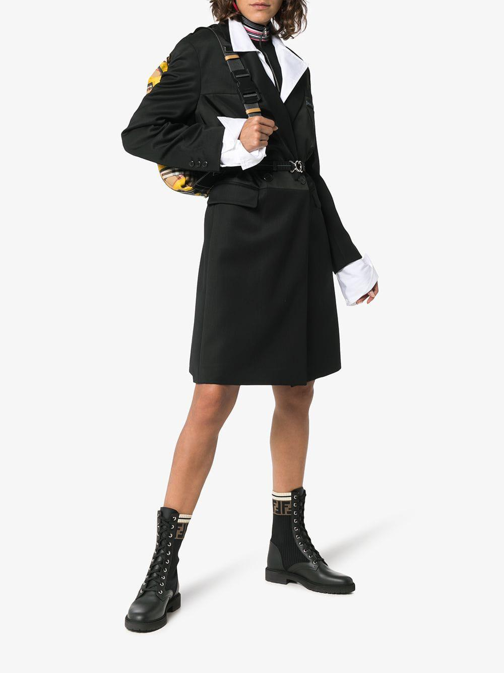 Fendi Leather Rockoko Combat Boots in