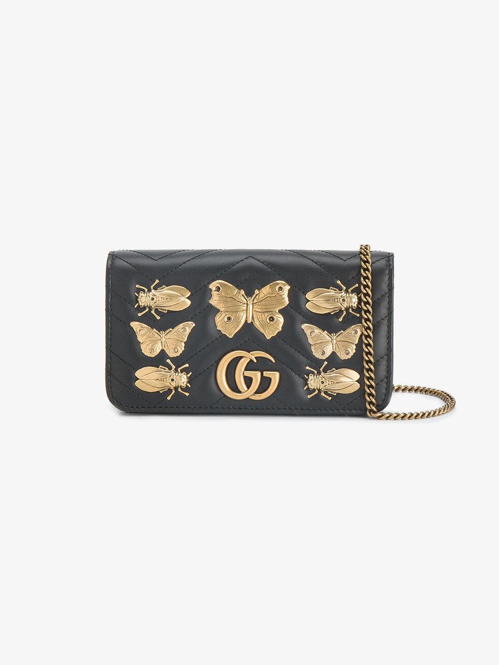 e0459899a18 Gucci Gg Marmont Animal Studs Mini Bag in Black - Lyst
