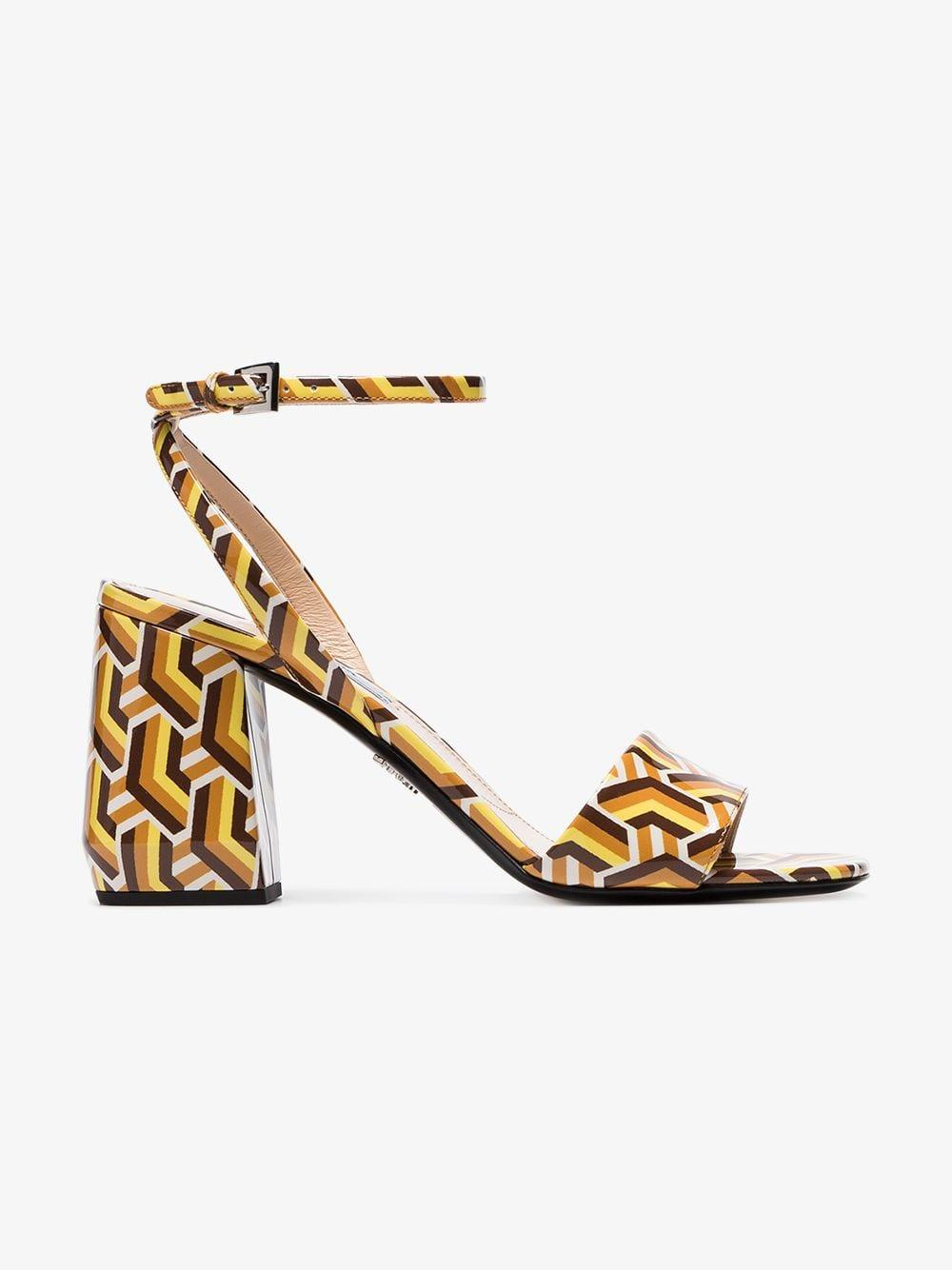 ce20a88a6c16 Prada. Women s Metallic Multicoloured 85 Twist Print Patent Leather Sandals