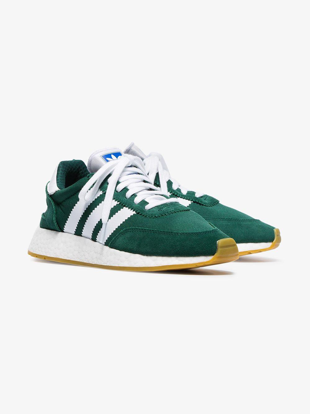 Green And White I-5923 Mesh And Suede Leather Sneakers