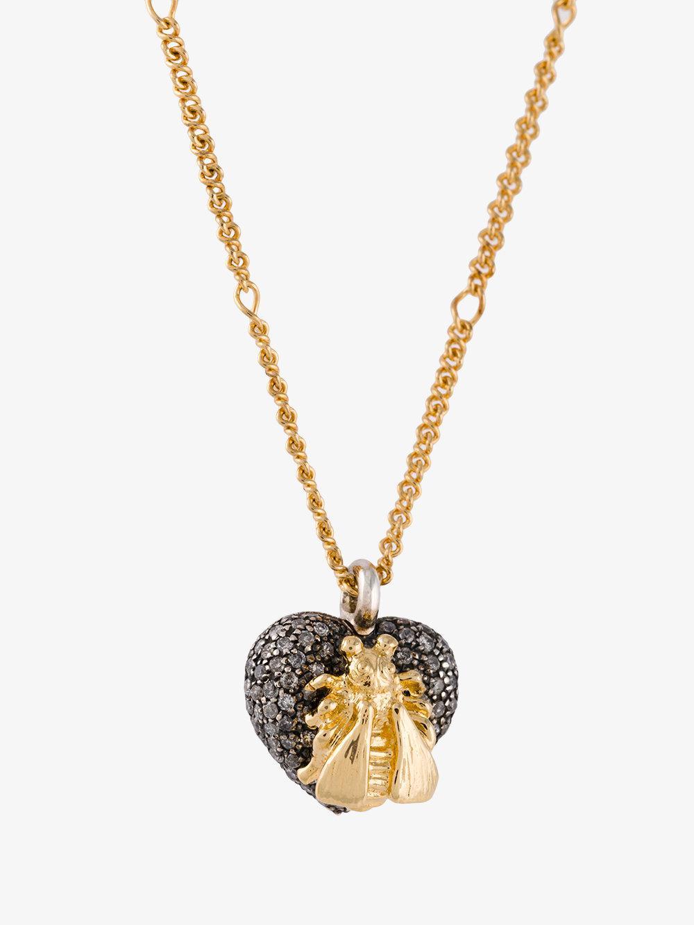 ff477b84d42 Lyst - Gucci 18kt Gold Bee Le Marché Des Merveilles Necklace in Metallic