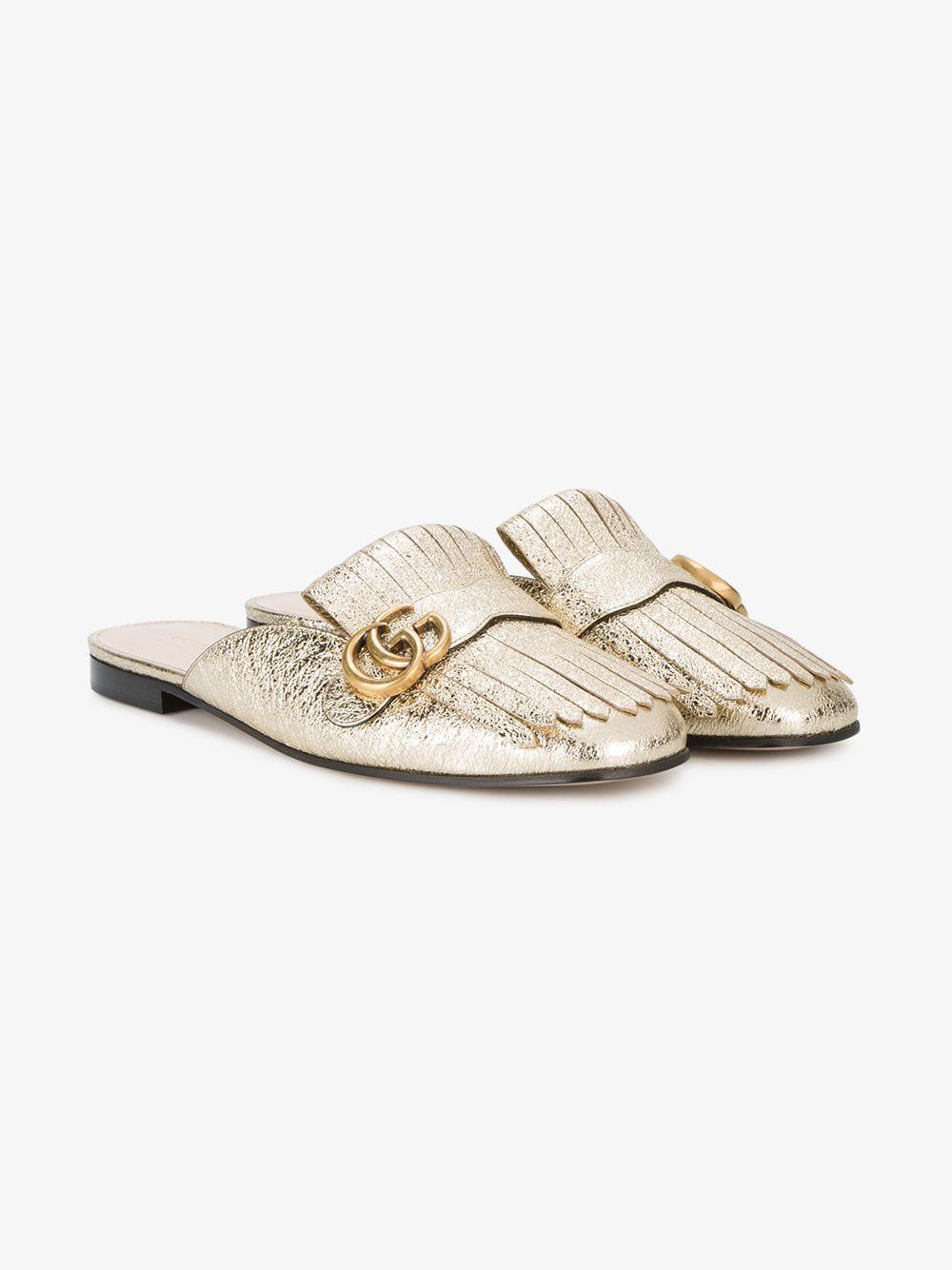 157d88c9a Lyst - Gucci Marmont Metallic Laminate Leather Slipper in Metallic