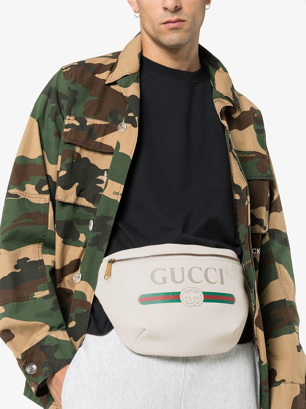 e0865a72363 Gucci - Multicolor White Print Leather Belt Bag for Men - Lyst. View  fullscreen