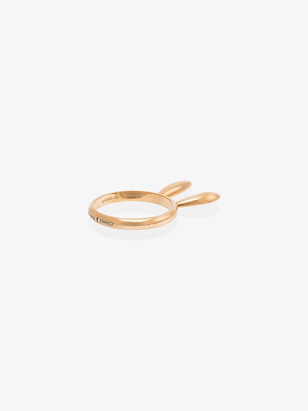 Natasha Zinko 18k Rose Gold Bunny Ears Ring in Metallic