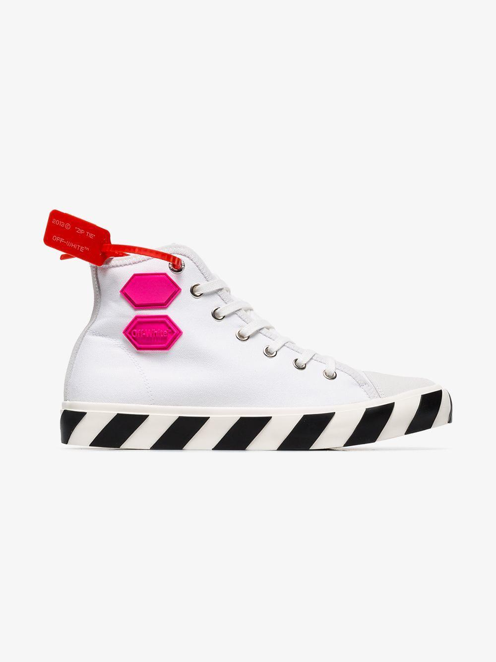 White Vulcanised Hi Top Sneakers