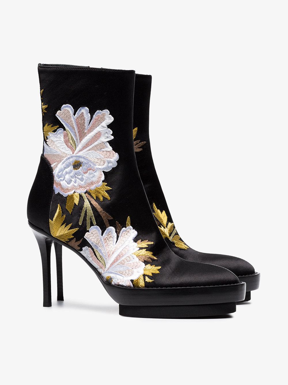 Ann Demeulemeester Silk Floral Embroidered Boots in Black