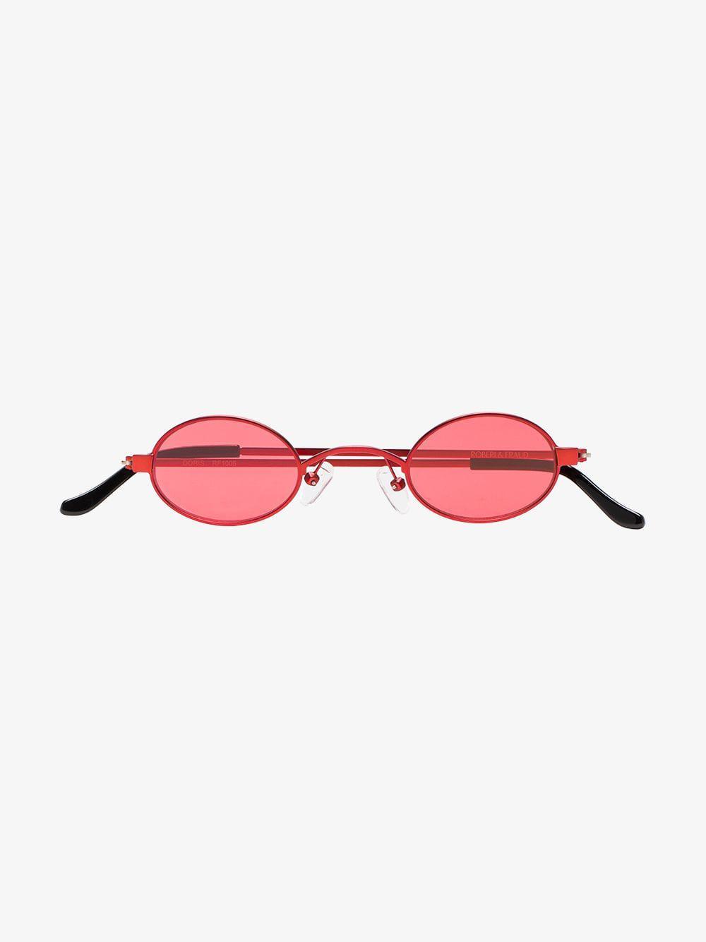 f4ad452e29 ROBERI AND FRAUD - Red Doris Round Frame Sunglasses - Lyst. View fullscreen