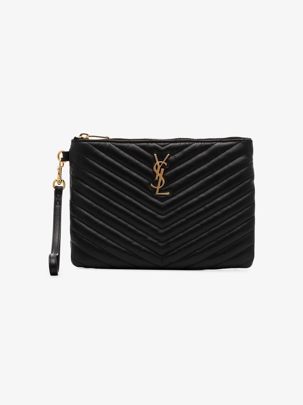 257b2e863c7 Saint Laurent Black Quilted Leather Clutch Bag in Black - Save  10.526315789473685% - Lyst