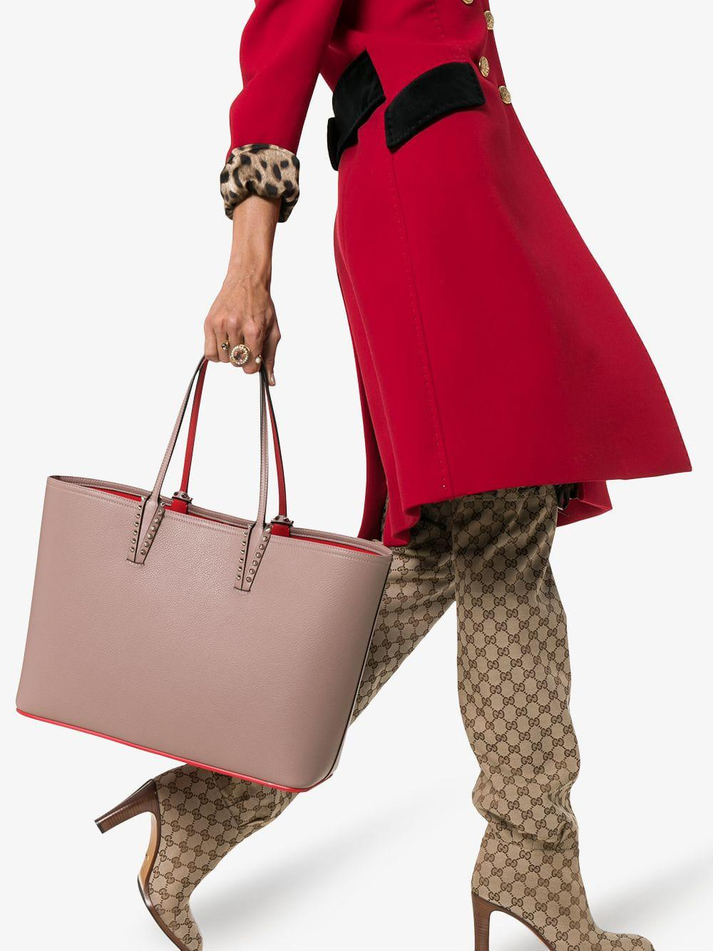 Christian Louboutin Leather Cabata Spike Embellished Tote Bag in Light Pink (Pink)