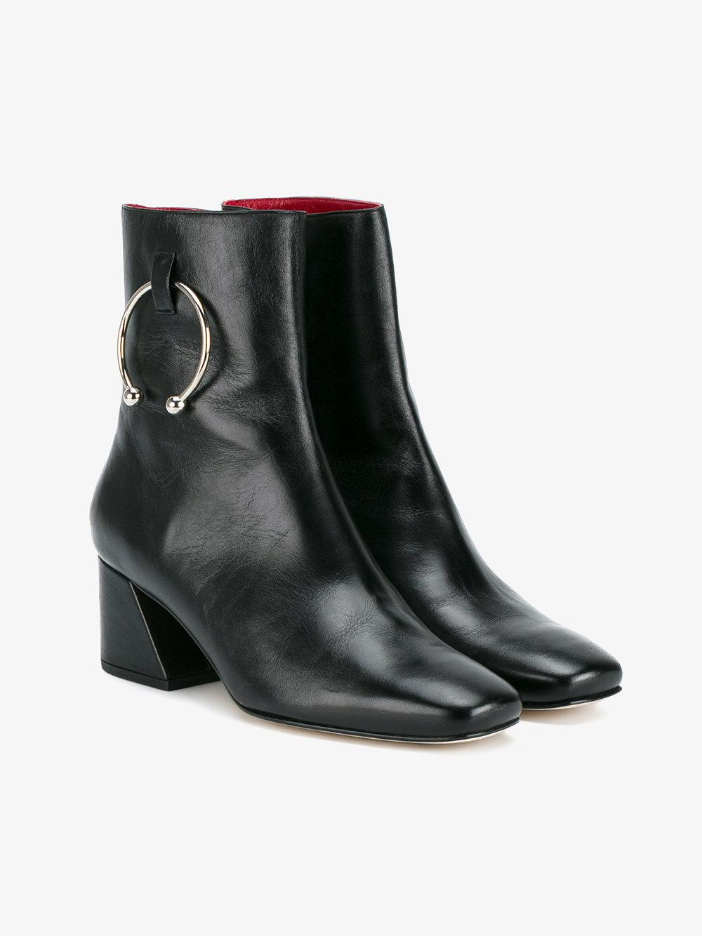 Dorateymur Black Leather Nizip 60 Boots in Blue